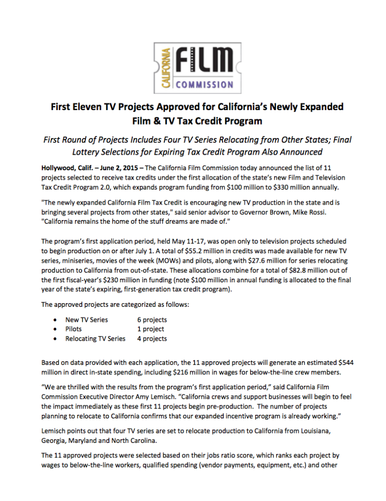 First Eleven Tv Projects Roved For California S Newly Expanded Film Tax Credit Program